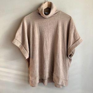 Zara Tan Short Sleeve Loose Turtleneck Knit Top